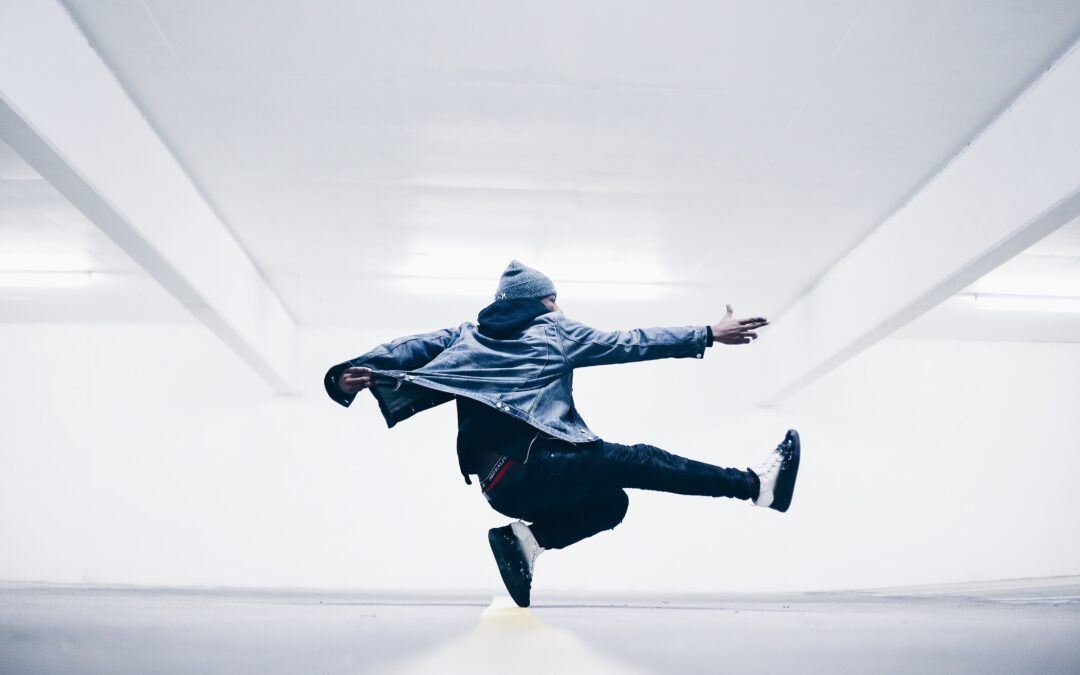 man jumping confidently in the air